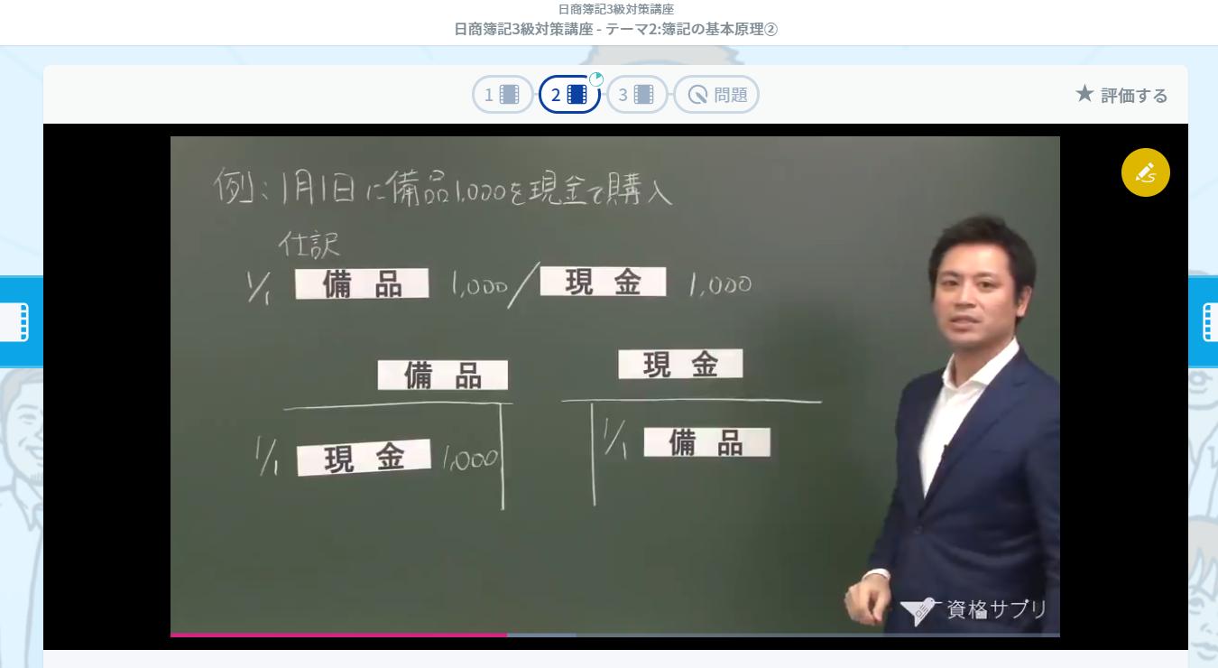 日商簿記3級講義動画の例